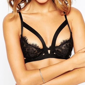 ASOS Eyelash Lace Marylin Caged Underwire Bra