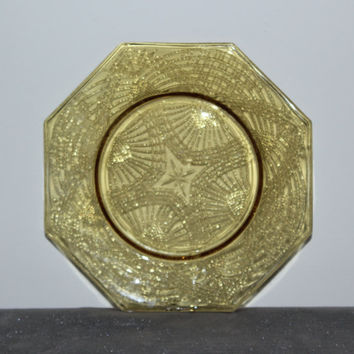 Yellow octagon glass plates (Set of 4), Depression glass plates, colored glass plates, vintage glass plates