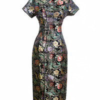 Black Traditional Chinese Dress Mujer Vestido New Women's Satin Long Cheongsam Qipao Clothings Flower S M L XL XXL XXXL J0024