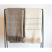 'Druzi' Embroidered Wool Blanket in Grey/Cream