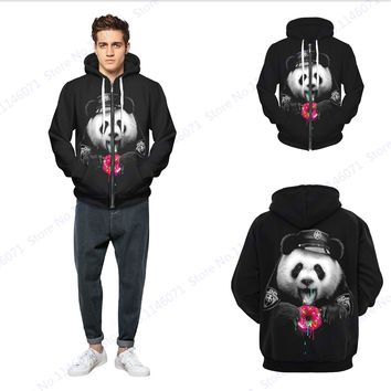 Funny Cartoon Panda Police Skateboard Hoodies Zipper Sweatshirts Harajuku Hip-Hop Mens Hooded Jackets Winter Long Sleeve Black