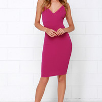 Amorous Magenta Bodycon Midi Dress
