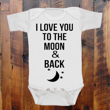 I Love you to the Moon and Back baby clothing Baby Shower gift. baby announcement. Moon and Stars. Baby Onezee. creeper, bodysuit.baby blue