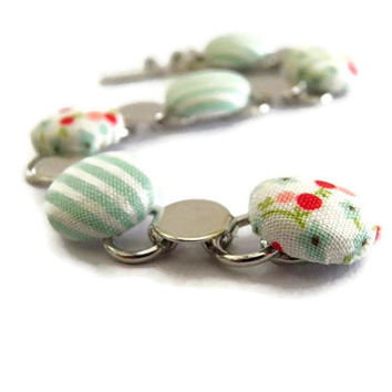 Fabric button bracelet Spring Beach bridesmaids bridal wedding shabby chic Valentines Day gift for her
