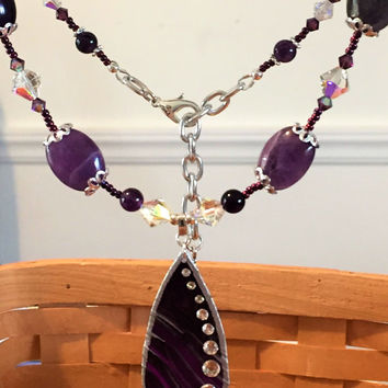 Amethyst and Crystal Tear Drop Necklace, Beautiful