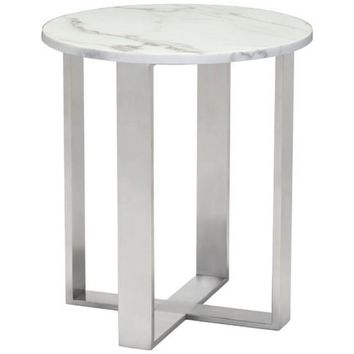 ZUO Modern Atlas End Table Stone & Brushed Stainless Steel 100711 Living Coffee/Side/Consoles