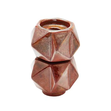 Small Ceramic Star Candle Holders In Russet - Set of 2 Russet Bronze