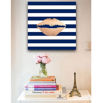 Rose gold lips print - rose gold print - canvas wraps - feminine decor - navy and white stripes