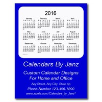 2016 Denim Blue Business Calendar by Janz Postcard
