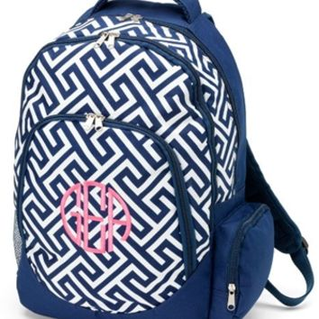 Monogrammed Navy Greek Key Backpack