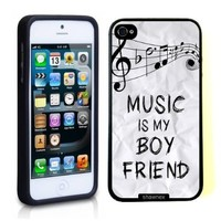 Iphone 5 5S Case Thinshell Case Protective Iphone 5 5S Case Shawnex Music Is My Boyfriend Hipster Quote