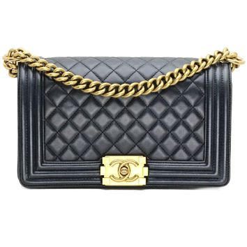 Chanel Medium Boy Quilted Flap Bag in Black Lambskin Leather with Gold Hardware