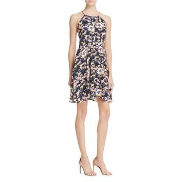 Aqua Womens Floral Print Halter Casual Dress