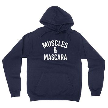 Muscles and mascara, workout clothing, gym, fitness, yoga hoodie