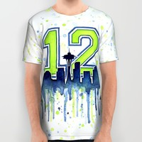 Seahawks 12th Man Fan Art All Over Print Shirt by Olechka