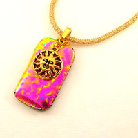 SOLD Tuscan Sun Fused Glass Pendant by KittyKatGlassDesigns