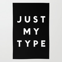 JUST MY TYPE (BLACK) Area & Throw Rug by K IS FOR BLACK