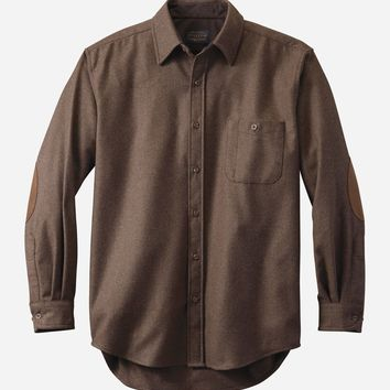 Pendleton - Men's Fitted Elbow-Patch Trail Brown Mix Solid Shirt