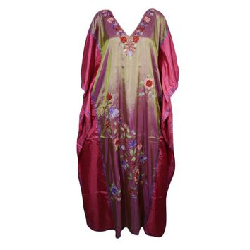 Mogul Womens Kimono Silk Blend Long Kaftan Double Shaded Floral Embroidered Kashmiri Caftan Dresses Maxi Kaftan Housedress - Walmart.com