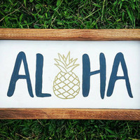 Framed Aloha Sign, Pineapple Aloha Neutral Home Decor, Wooden Hawaiian Wall Hanging Sign, Handpainted Rustic Aloha, Ready to Ship