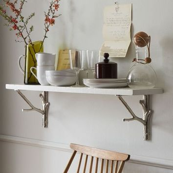 Rustic Lacquer Shelf + Silver Branch Brackets