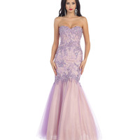 Lilac Strapless Sweetheart Tulle Mermaid Gown 2015 Prom Dresses