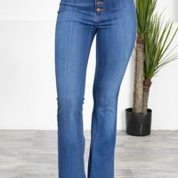 Wide Leg Retro Flared Denim | Medium Wash