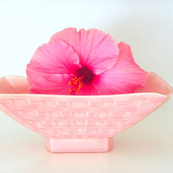 Vintage California Pottery Planter, Miramar Pink 50s Atomic Age   Garden Planter, Retro Ceramic Basket Weave Pot