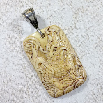 Vintage Dragon Pendant Hand Carved Bovine Bone Very Detailed On Back Are Dates Of Chinese Year of Dragon 1940-2000 One of a Kind Handmade