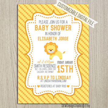 Yellow Lion Savana Polkadot Invitation for Baby Shower - It's a Girl Party Africa Animals Woodland Creature Card - DIY Printable (016)
