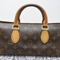 Authentic Louis Vuitton Hand Bag Popincourt M40009 Browns Monogram 41570