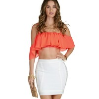 Sale-orange Ruffle Along Crop Top