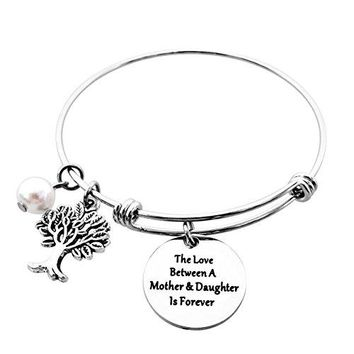 AUGUAU ALoveSoul Family Tree Bracelet - The Love Between A Mother and Daughter Is Forever Tree of Life Expandable Bangle Bracelet