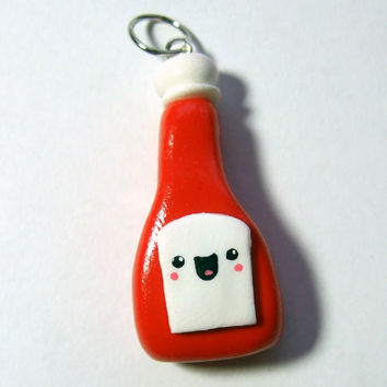 HAPPY KETCHUP Pendant Charm  Ready to Ship  by TheHappyAcorn
