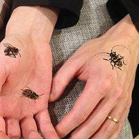 TAFLY 5 Sheets Temporary Tattoo Stickers Big Black 3D Color Bee Waterproof Body Tattoo Insect