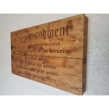 2nd Amendment Freedom Cabinet on Burnt accent wood/ Metal Art