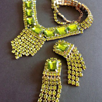 Czech Green Rhinestone Necklace Earrings Set, Unsigned BIJOUX MG, Art Deco Antique-Vintage