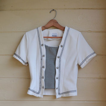 Vintage 80s Shirt Sailor Nautical Shirt White and Blue Stripes and Trim Shirt Sailor Top 80s Fashion Size Small