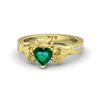 Heart Emerald 14K Yellow Gold Ring with Diamond