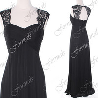 Black Prom Dress, Lace Formal Dresses, Lace Straps Chiffon Black Prom Gown, Formal Dresses, Bridesmaid Dresses