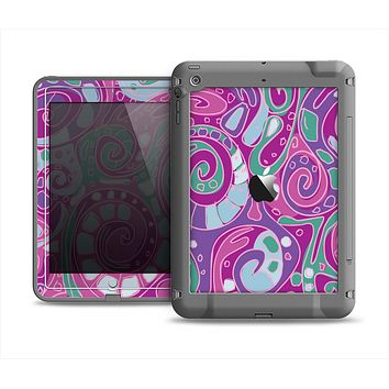 The Abstract Pink & Purple Vector Swirled Pattern Apple iPad Mini LifeProof Fre Case Skin Set