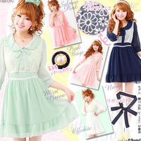 Rakuten: Tulle flower lace ♪bow tie ribbon chiffon dress- Shopping Japanese products from Japan