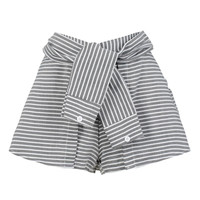 Gray Stripe Print Tied Front Culotte Shorts