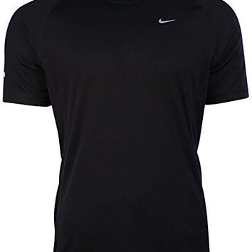 Nike Mens Dri-Fit Miler UV Short Sleeve Running Shirt-Black-Medium