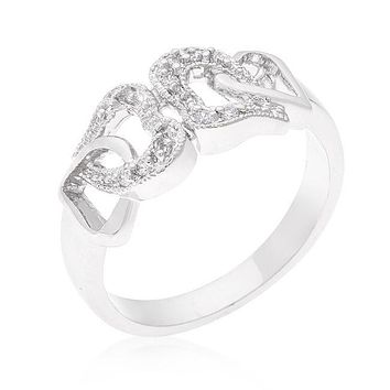 Simulated Diamond CZ Interlocking Hearts Ring, Sterling Silver