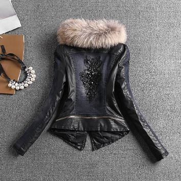 European winter denim jacket slim female PU leather quilted jacket thick full sleeve stitching with beaded cotton lining coat