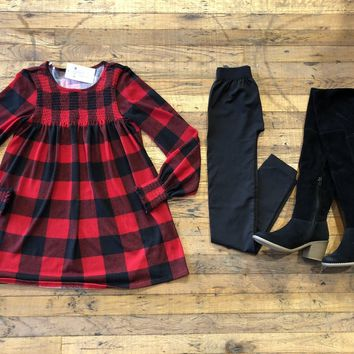 Townleigh Plaid Top in Red/Black