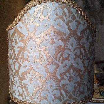 Clip-On Shield Shade Fortuny Fabric Aquamarine & Silvery Gold Corone Pattern Half Lampshade - Handmade in Italy