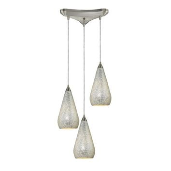 Elk Lighting 546-3SLV-CRC Curvalo Satin Nickel Three-Light Mini Pendant with Silver Crackle Glass