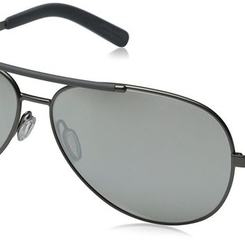 D&G Dolce & Gabbana Men's 0DG2141 Polarized Aviator Sunglasses, Matte Gunmetal,Light Grey,Mirror Silver Matte